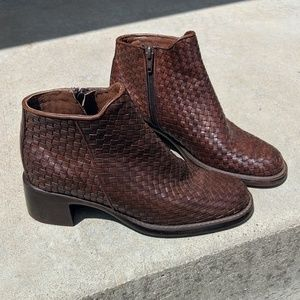 Vintage Brown Woven Ankle Boots